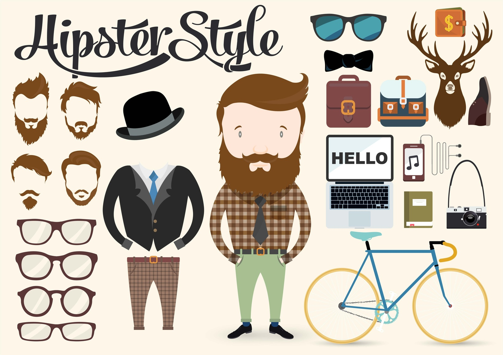 Hipster character illustration with elements and icons